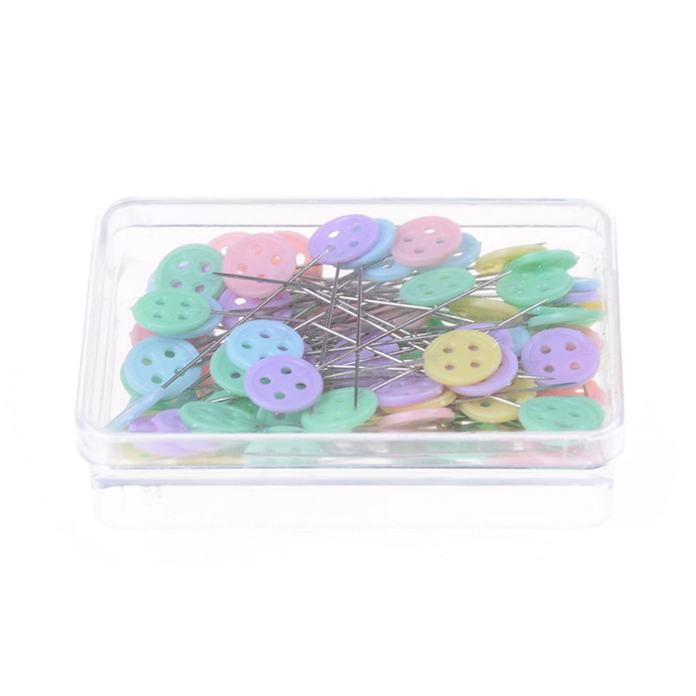 100 Pcs Flat Button Head Pins For Sewing Crafts DIY--Boxed Assorted Color Yi Ya Yi