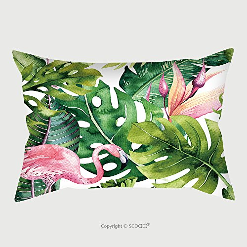 Custom Satin Pillowcase Protector Tropical Isolated Seamless Pattern With Flamingo. Watercolor Tropic Drawing, Rose Bird And Greenery Palm Tree, Tropic Green Texture, Exotic Flower. Aloha Colle by chaoran