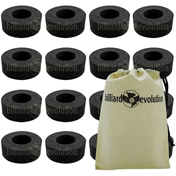 Set of 16 Ridged Rubber Bumpers /& 16 Nylon Washers for Foosball Table /& Billiard Evolution Drawstring Bag