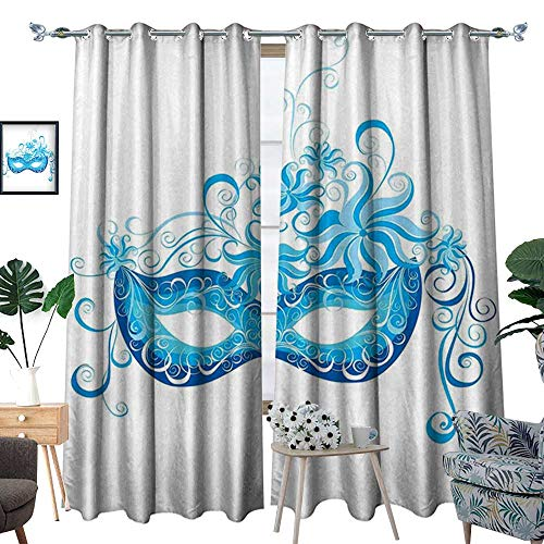 homehot Masquerade Window Curtain Drape Venetian Style Mask Majestic Impersonating Enjoying Halloween Night Theme Decorative Curtains for Living Room Blue and Sky Blue ()