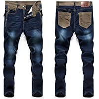 New Youth Fashion Comfortable Men'S Casual Loose Jeans Pants Straight Simple Men Hole Jeans