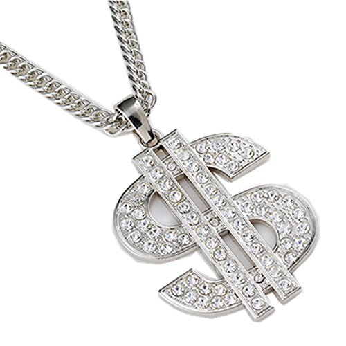 jou Fashion Jewelry The New Design Dollars Chain Necklace Cool Hip-Hop Dance Style Pendant Necklace (SILVERY) (Female Pimp Outfit)