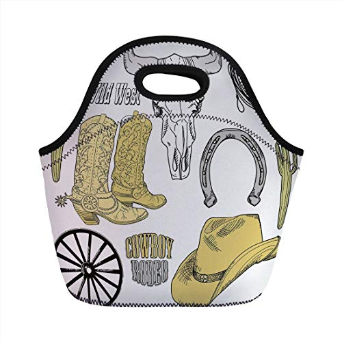 Western,Cowboy Rodeo Accessories Skull Lasso Hat Vintage Wheel Horseshoe,Light Brown Black Light Grey,for Kids Adult Thermal Insulated Tote ()