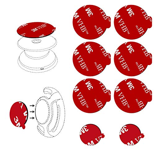 6pcs 3M Sticky Adhesive Replacement Parts for Socket Base, VOLPORT 1.38 Circle Double Sided Tape for Collapsible Grip Stand's Back, 2pcs Pops VHB Sticker Pads for Cell Magnetic Phone Car Mount Holder from VOLPORT