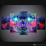 1 Conjunto de 5 piezas impresas HD psychedelic skull pintura artística sobre lienzo decoración imprimir imagen de póster lienzo cuadros decoracion