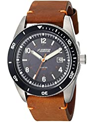 Armitron Adventure Unisex AD/1002NVSVBN Solar Powered Date Function Dial Brown Leather Strap Watch