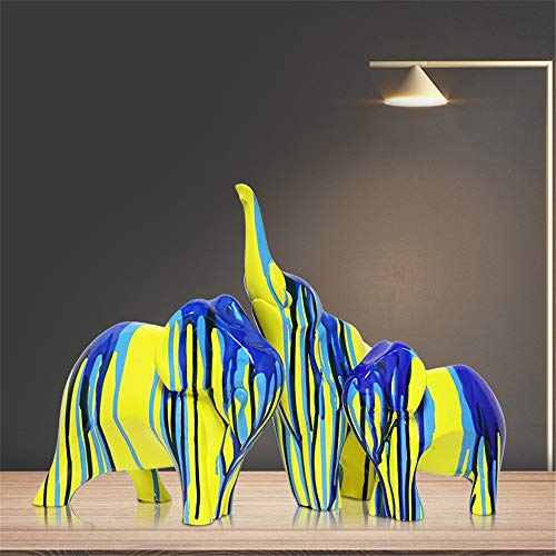- XiYunHan Resin Crafts Decoration European Creative Oil Paint Elephant Soft Dress Home Accessories Living Room Entrance TV Cabinet Arrangement Horse Furnishings Marry Gift Desktop Three-Piece Set
