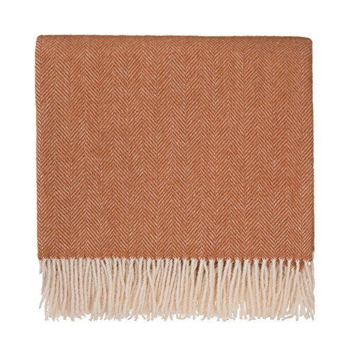 URBANARA 50% Alpaca Wool 50% Merino Wool Throw Corcovado 51x67 Terracotta/Off-White with Fringe - Blanket with Decorative Herringbone Weave Design - Perfect for Your Couch, Sofa, Bed, Chair