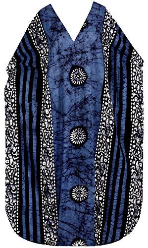 LA LEELA Plus Size Batik Caftan Dress Maxi for Women Long Blue_X908 OSFM 14-18W
