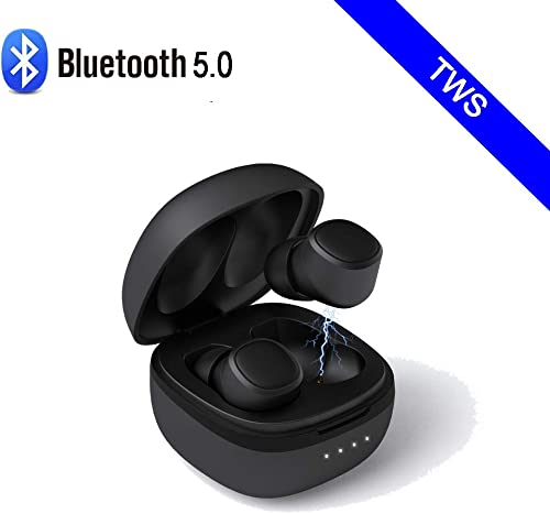 True Wireless Earbuds,Bluetooth Headphones V5.0 TWS in-Ear Earphones IPX6 Waterproof Mini Headset 30H Standby time 3D Stereo Sound Sport and Business Black