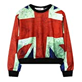 british blouse - Girls Teens Sweetshirt Pullover Sweater Round Neck Crop Top Blouse UK Flag