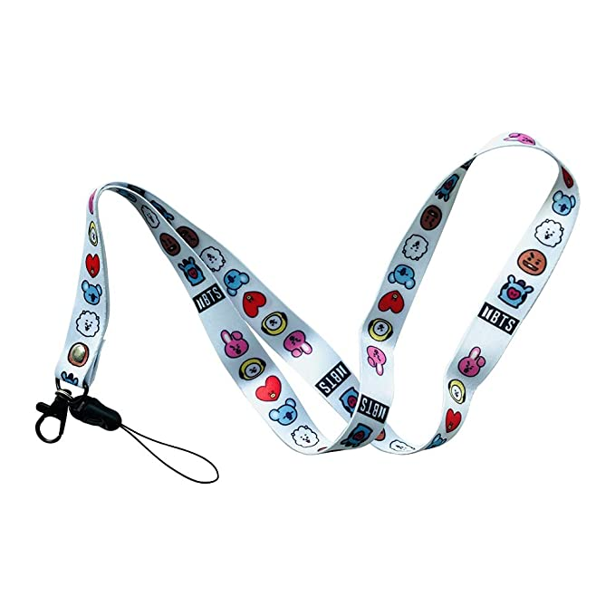 BTS Lanyard Keychain Id Badge Holder Neck Strap for Keys,Bangtan Boys Gift Set for Army (B)