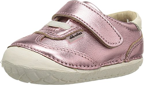 Old Soles Girl's Sporty Pave Leather Elastic Laces Hook and Loop Walker Baby Shoe Sneaker (22 M EU/6 M US Toddler, Frost Pink/White) (Pink Leather Shoes White)