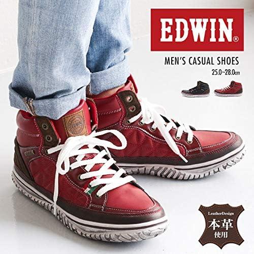 [EDWIN(エドウィン) ] スニーカー メンズ ミドルカット ハイカット キルティング ED-7655