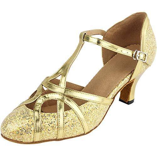 Wealsex Zapatos de Baile Zapatos Latinos de Satén Mujeres Puntas Puntiagudas Danza Étnica Zapatos de Baile de Salón 6 cm Talón Medio Golden