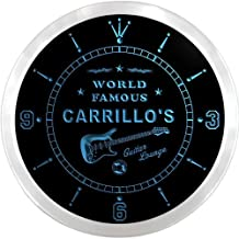 ncpf1675-b CARRILLO'S Famous Guitar Lounge Beer Pub LED Neon Sign Wall Clock