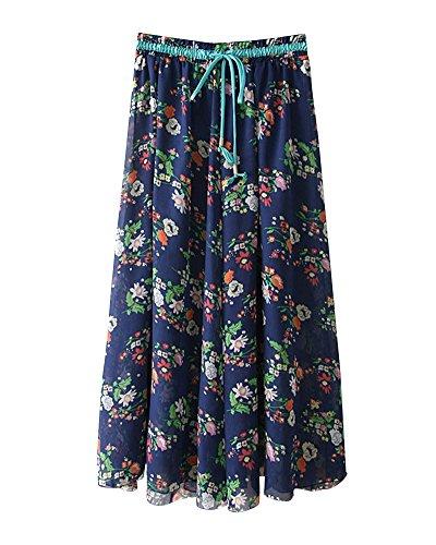 Taille Vacances Grande Boho Bleu Jupe Mousseline t Jupes lastique Imprim Femme Plage Flexible Fonc Casual Plisse Jupe Floral Taille vase Yqvn6