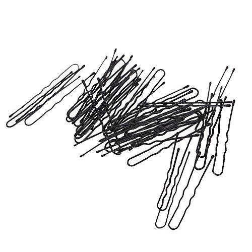 Anself 50pcs dünne Haarklammen U-Form Haar clips BobbyPin Schwarz Metal