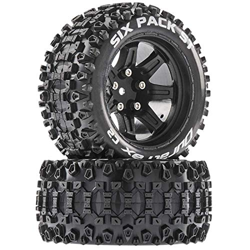 Duratrax Six-Pack ST 2.8 Mounted Tires, Black 14mm Hex (2), DTXC5206