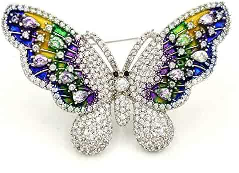 b2621ead0 DREAMLANDSALES Gorgeous Micro Pave and Rainbow Colored Enameled Butterfly Brooches  Pins Insect Jewelry