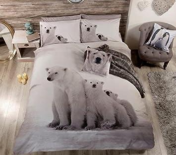 Zoo animaux sauvages Ours Polaires Parure de lit double Housse de