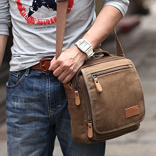VRIKOO Small Canvas Crossbody Messenger Bag Shoulder Satchel Bag for Work Travel Hiking School (Khaki) Café