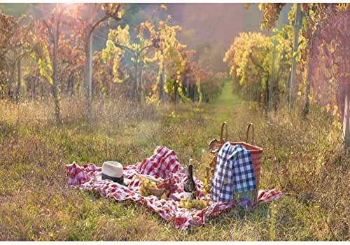 YongFoto 5x3ft Autumn Forest Scenery Background Yellow Maple Leaves Background for Photography Wine Grape Cloth Outdoor Leisure Picnic Camping Decor Kids Adult Portrait Studio Props Wallpaper