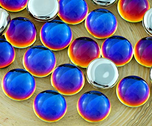 10pcs Crystal Rainbow Dichroic Heliotrope Vitrail Volcano Blue Valentine Pink Yellow Round Domed Czech Glass Cabochon 10mm