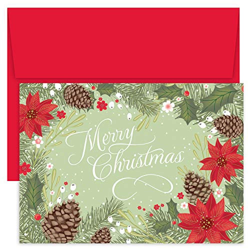 Masterpiece Holiday Collection 18-Count Christmas Cards, Poinsettia & Pinecone Border ()