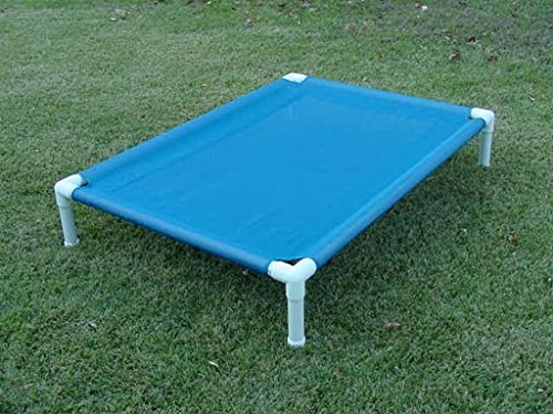 """Raised Mesh PVC Pipe Frame Dog Cot, Outdoor Pet Bed, Cat Bedding, Blue Mesh Cot Size 28""""x40""""x8 Dianes K9 Creations"""