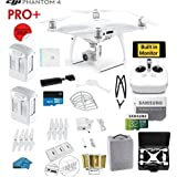 DJI Phantom 4 PRO Plus (Pro+) Quadcopter Drone with 1-inch 20MP 4K Camera KIT, with Monitor + 2 DJI Batteries + 32GB Micro SDXC Card + Reader + Prop Guards + Range Extender + Charging Hub+ HardCase