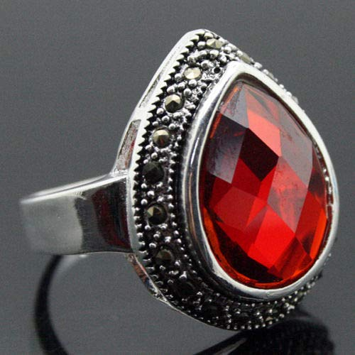 - Nice Design Lady's 925 Silver Faceted Red Ring (Size 7/8/9/10 2520mm)