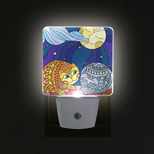 - GIOVANIOR Abstract Cats In Stained Glass Sitting On The Roof Against Starry Sky And Moon Plug in Dusk to Dawn Light Sensor LED Night Light Wall Light for Bedroom, Bathroom, Hallway, Stairs, Energy Eff