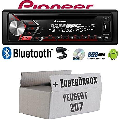 CD Android Einbauzubeh/ör MP3 USB JUST SOUND best choice for caraudio Autoradio Radio Pioneer DEH-S3000BT Bluetooth Einbauset f/ür Peugeot 207