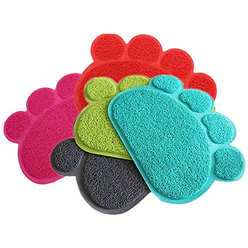 Small Placemat Personalized (Pet Placemat - 1 Piece Dog Puppy Paw Shape Placemat Pet Cat Dish Bowl Feeding Food PVC Mat - RANDOM COLOR)
