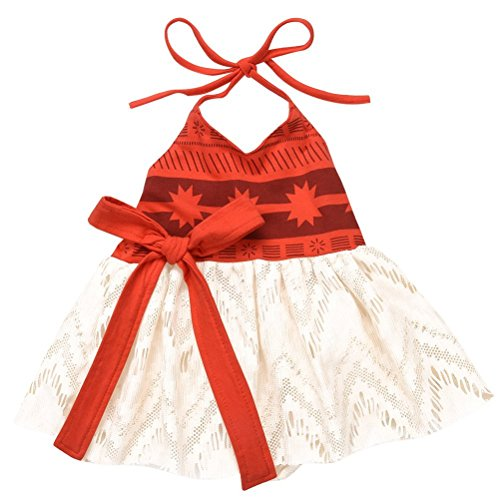 AmzBarley Moana Costume for Girls Halloween Dress Up Toddlers Kids Outfits Birthday Fancy Party Cosplay Role Play Clothes Age 1-2 Years Size 3T