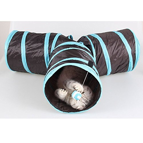 Pet Cat Dog Collapsible 3 Way Pet Crinkly Sounds Agility Train Tunnels and Tubes Toy for Small Medium & Large Cats Dogs Blue Blue with black