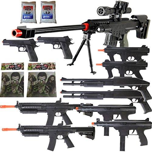 Dark Ops Airsoft 11 Gun P1082 Sniper Rifle Package + Shotguns + Pistol + Tec9 SMG + Targets - Sniper Set Gun