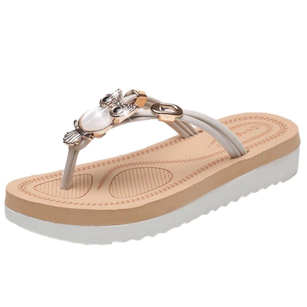 Sentao Frauen Sommer Bouml;hmen Rhinestone flip flop Sandalen Clip Toe Rouml;mische Strand Hausschuhe  Asia40 (L?nge:25.0cm)|Beige 1