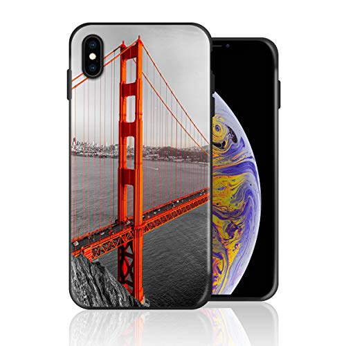 Silicone Case for iPhone Xs Max, San Francisco Bridge in The Foggy Cloudy Day Design Printed Phone Case Full Body Protection Shockproof Anti-Scratch Drop Protection Cover]()