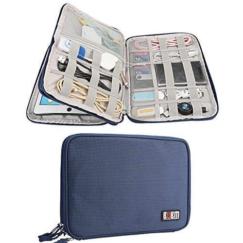 Electronics Accessories Organizer BUBM Travel Cable Bag Cord Gadgets Organizer for IPad-Blue