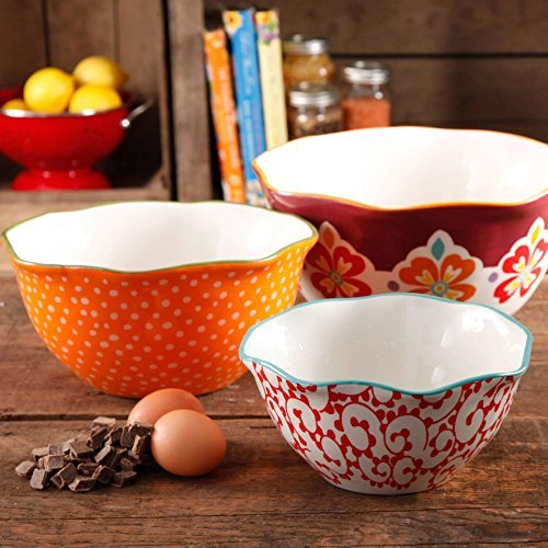 3-Piece Stoneware Market Scalloped Edge Serving Bowl Set, Multicolor (Stoneware Mixing Bowl Set)