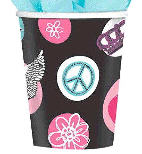 Amscan Rocker Princess Birthday Party Paper Cups Disposable Drinkware (8 Pack), 9 oz, Black/Pink