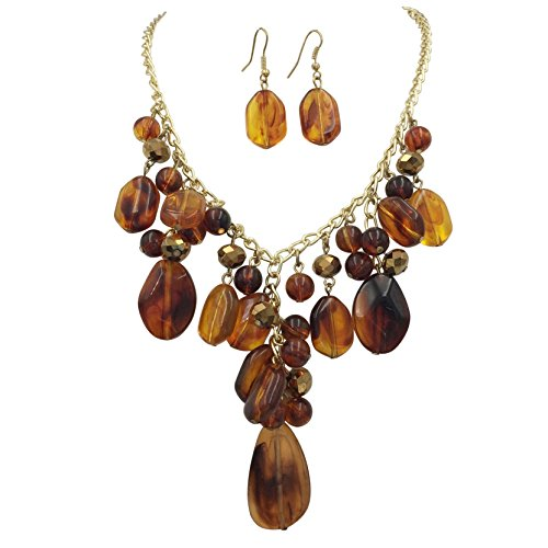 Shell And Bead Drop Necklace (Tortoise Shell Resin Y Drop Cluster Beads Statement Necklace & Dangle Earrings Set)