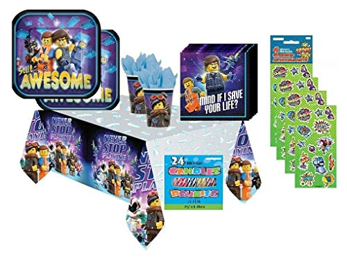 The Lego Movie 2 Birthday Party Bundle Set for 16 includes Dessert Plates, Napkins, Cups, Table Cover, Candles, Stickers