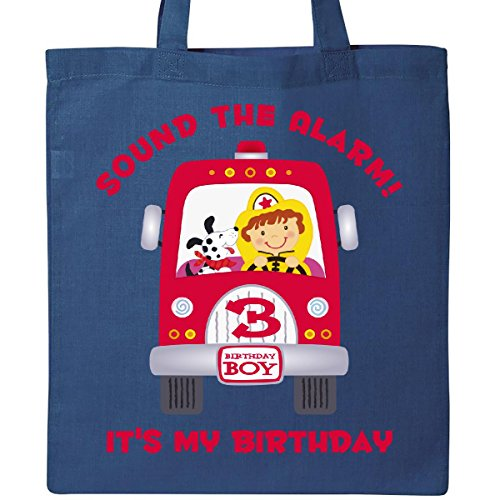 Inktastic - Fire Truck 3rd Birthday Boy Tote Bag Royal Blue 117db - 3rd Birthday Bag