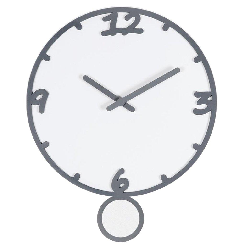 現代ミニマルクリエイティブ木製テーブルベッドルームリビングルームダイニングルームミュートスイングクォーツ時計 (色 : Gray box white surface) B07CYS61GD Gray box white surface Gray box white surface