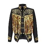 PYJTRL Mens Fashion Gold Embroidery Tassels Sequins Suit Jacket (Black, Tag XL/US 38R)