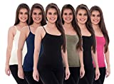 Unique Styles 6 Pack Women's Tanks Tops Adjustable Spaghetti Strap Cotton Cami (X-Large, 2 Black, Pink, White, Navy, Grey)