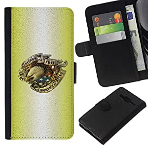 All Phone Most Case / Oferta Especial Cáscara Funda de cuero Monedero Cubierta de proteccion Caso / Wallet Case for Samsung Galaxy Core Prime // Tattoo Ink Eagle Patriot Usa America